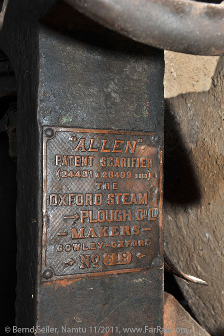 Maker's plate for the plough at the steam roller