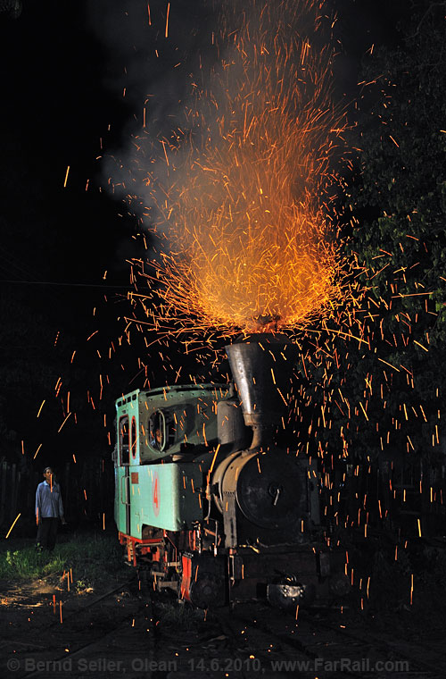 Sparks in the night: sugar mill railway in Olean