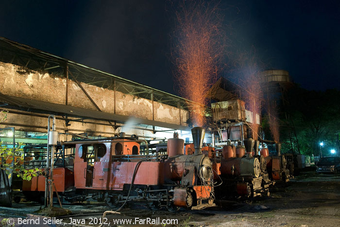 steam and sparks in Pangka at night