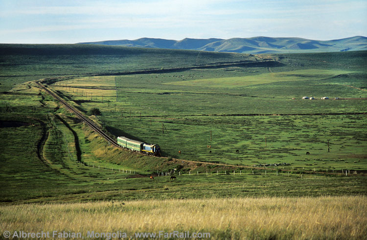 little train in the endlaess landscape of Mongolia